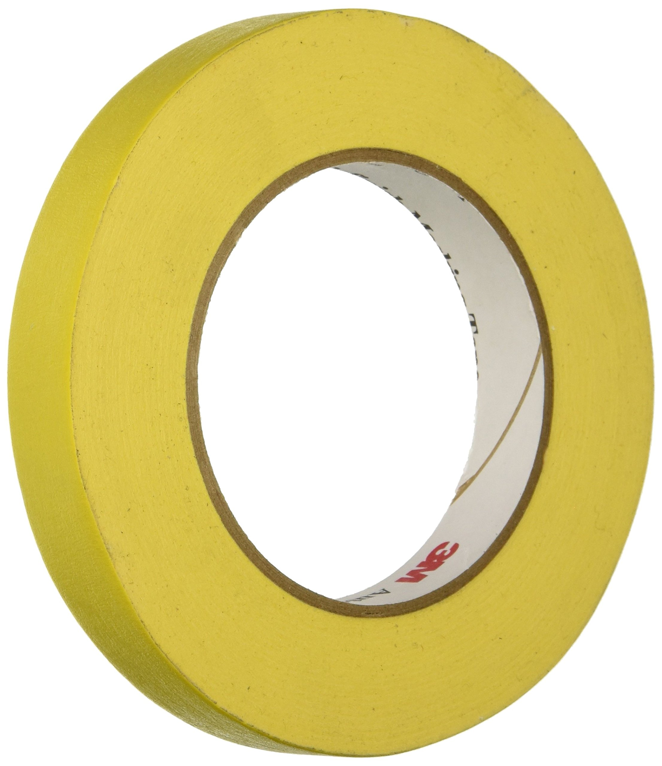 3M 06652 Automotive Refinish Masking Tape, 250 Degree F Performance Temperature, 28 lbsin Tensile Strength, 55m Length x 18mm Width, Yellow (Case of 12 Rolls) by 3M