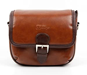DURAGADGET Small Brown PU Leather Satchel Carry Bag with Customisable Inserts - Compatible with The Nextbase in Car Dash Cam 101|Nextbase in Car Dash Cam 202 Lite|Nextbase in Car Dash Cam 512G