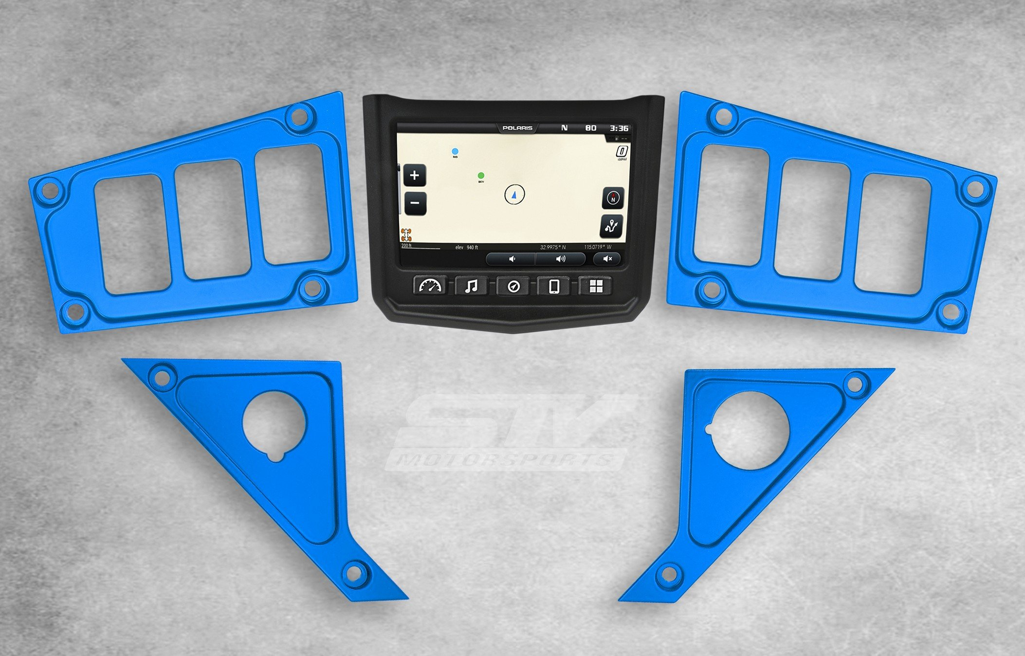 STV Motorsports Custom Blue Aluminum Dash Panel for 2017 POLARIS RZR XP 1000 RIDE COMMAND EDITION with 6 switch openings – MADE 100% in USA