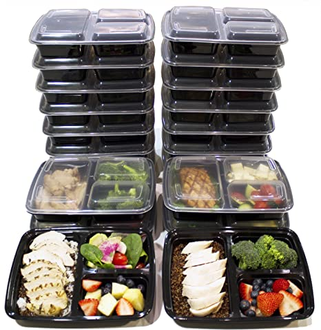 [20 Pack] 3 Compartment Meal Prep Containers BPA Free Portion Control Bento  Boxes (39 Oz )