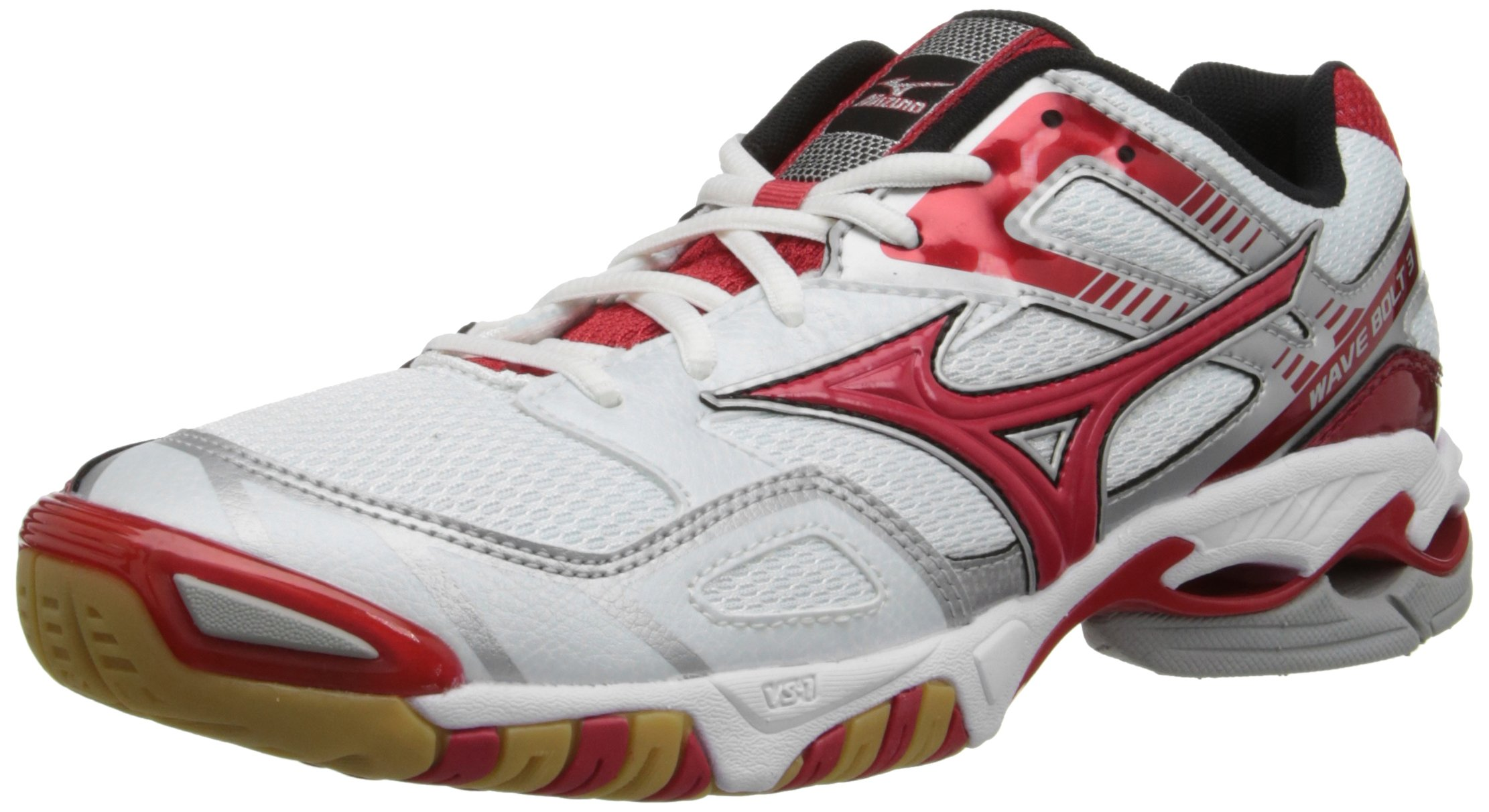 Mizuno Women's Wave Bolt 3 Volley Ball Shoe,White/Red,11 M US by Mizuno