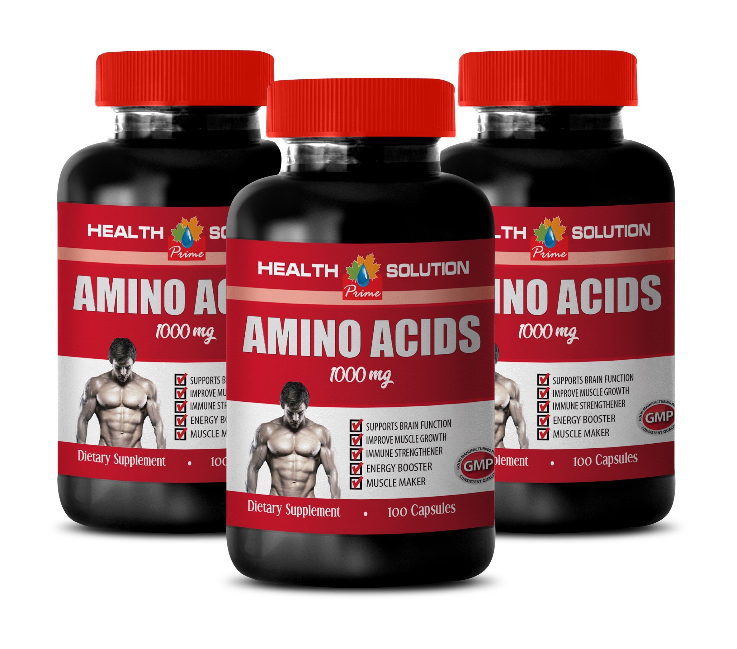 Muscle Builder Supplements for Men - Amino Acids 1000 mg - l-theanine Pills - 3 Bottles 300 Capsules