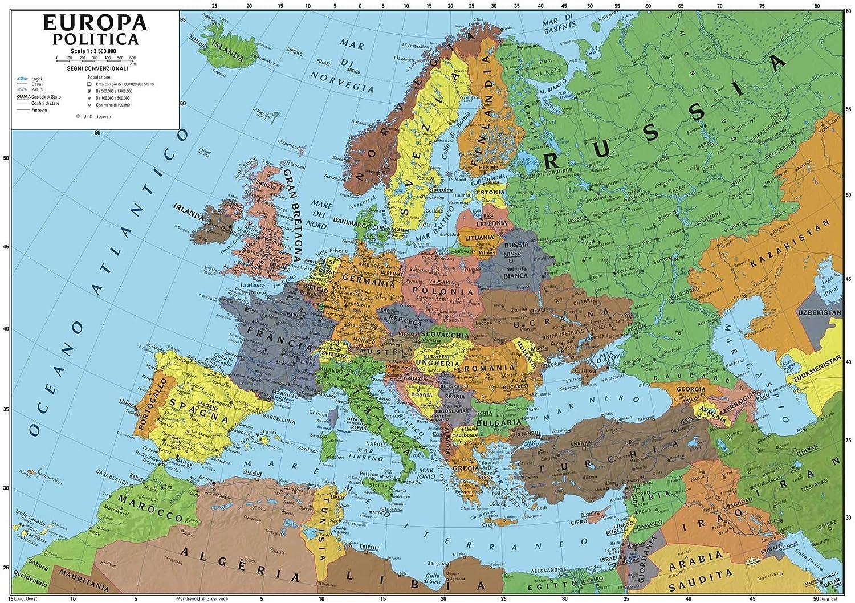 Cartina Delleuropa.Carta Geografica Murale Europa 100x140 Scolastica Bifacciale Fisica E Politica Amazon It Cancelleria E Prodotti Per Ufficio