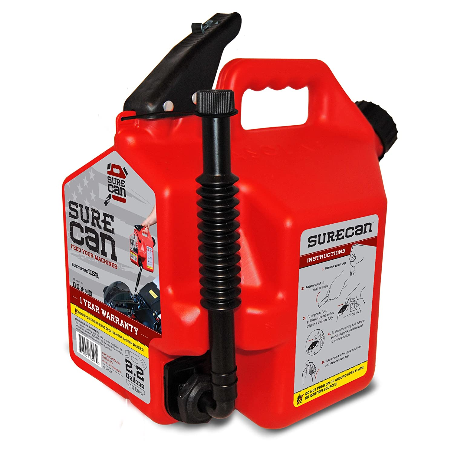 Surecan CRSUR22G1 Gasoline Can, 2.2 Gallon Surecan Inc