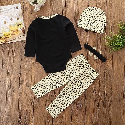 e7c5069cd6c4 Amazon.com  Newborn Baby Girl Daily Clothes Black Romper Tops T-Shirt  Leopard Pants Headband Outfit  Clothing