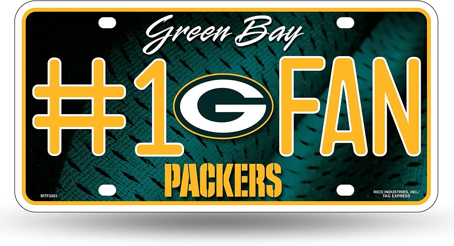 NFL Rico Industries  #1 Fan Metal License Plate Tag Green Bay Packers