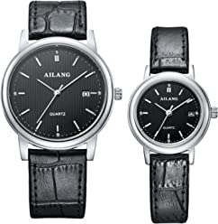 AILANG Leather Simple Quartz Wrist Watch for Couple Lovers,Set of 2,AL-