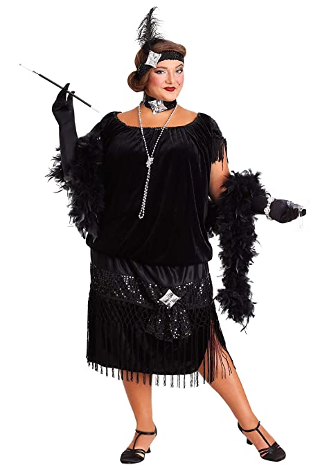 1920s Costumes: Flapper, Great Gatsby, Gangster Girl Plus Size Womens Black Flapper Dress Deluxe 1920s Flapper Dress Costume 5X $69.99 AT vintagedancer.com