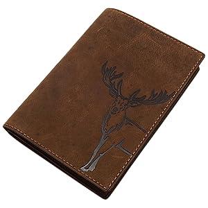 Cuir de buffle pochette de carte d'identité avec cerf- ou sanglier motif en marron