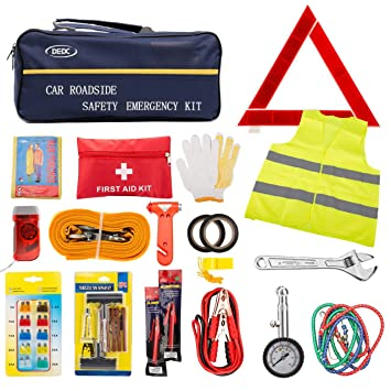 DEDC 72pc Auto Emergency Car Kit With Jumper Cable Vest Hammer Towing Strap Tire Repair Travel