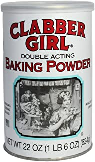 product image for Clabber Girl Baking Powder, Gluten Free, Vegan, Vegetarian, Double Acting Baking Powder in a Resealable Can with Easy Measure Lid, Kosher, Halal, 22 oz can (12 pack)