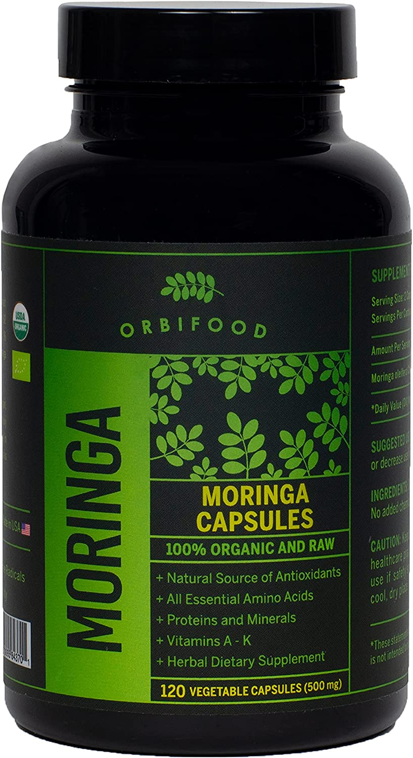 Organic Moringa Capsules – 120 Vegi Capsules – Made in USA - 100% Certified & Raw – Nutrient Dense, Complete Green Superfood Herbal Supplement - Packed with All Antioxidants, Amino Acids, Vitamin A-K