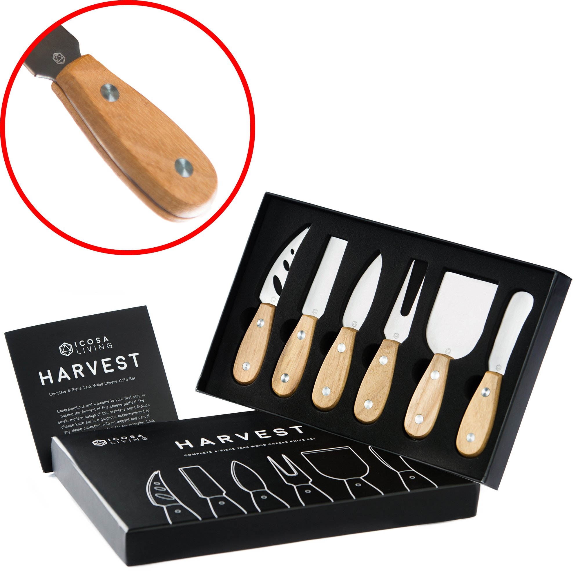 HARVEST Premium 6-Piece Cheese Knife Set - Complete Stainless Steel Cheese Knives Collection with Teak Wood Handles and Full-Length Blades