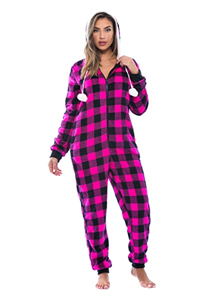 000d1579c11a7 Just Love Buffalo Plaid Adult Onesie/Sherpa Lined Hoody/One Piece Pajamas