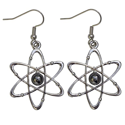 Atomic Science Earrings: Carbon Atoms With Six Electrons & Swarovski Pearl Nucleus - Science Jewelry Gift