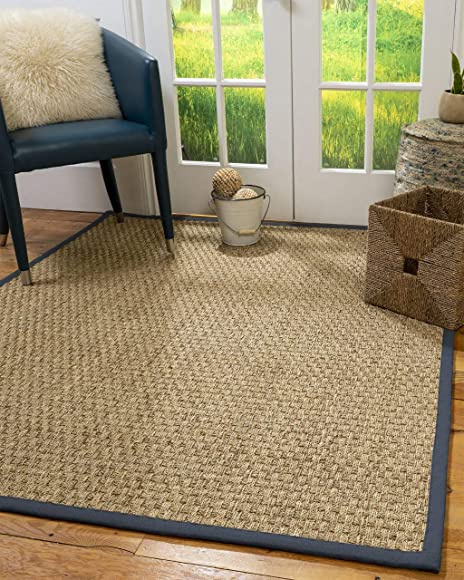 NaturalAreaRugs Basketweave Area Rug 100 Natural Seagrass Hand-Crafted Marine Wide Canvas Border