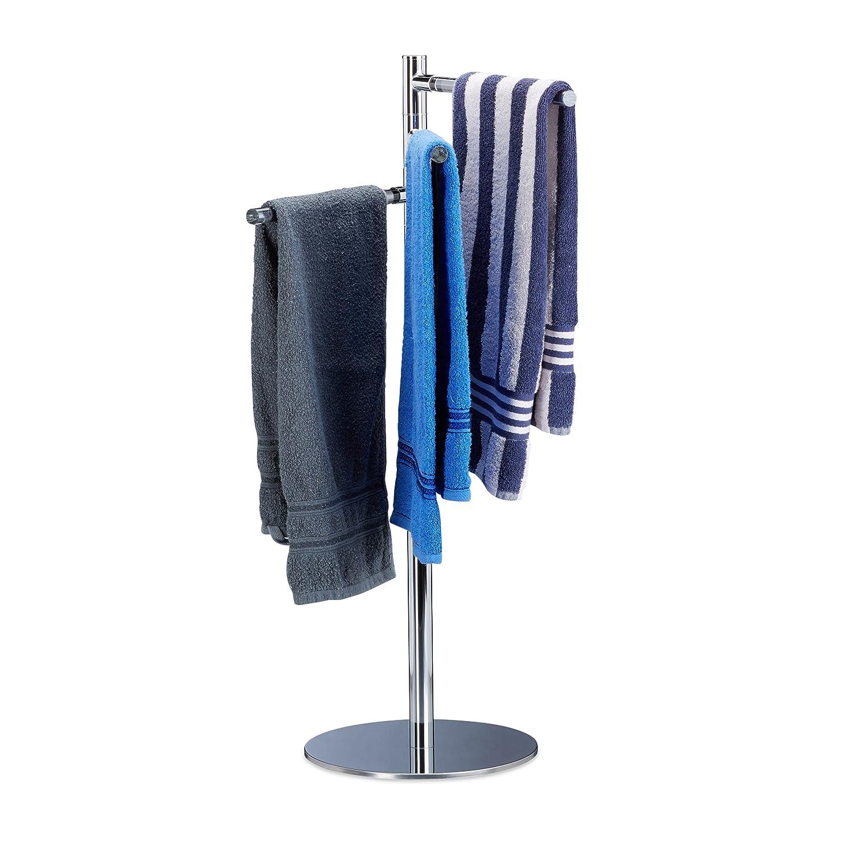 Relaxdays freistehend, Handtuchhalter freistehend, Relaxdays Handtuchständer mit 3 schwenkbaren Armen, Edelstahl, HxBxT: 90x52x30,5cm, silber 0ca240