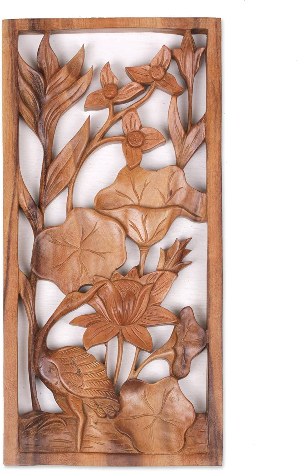 NOVICA Natural Wood Carved Relief Panel Heron and Flower Wall Sculpture, Heron Pond'