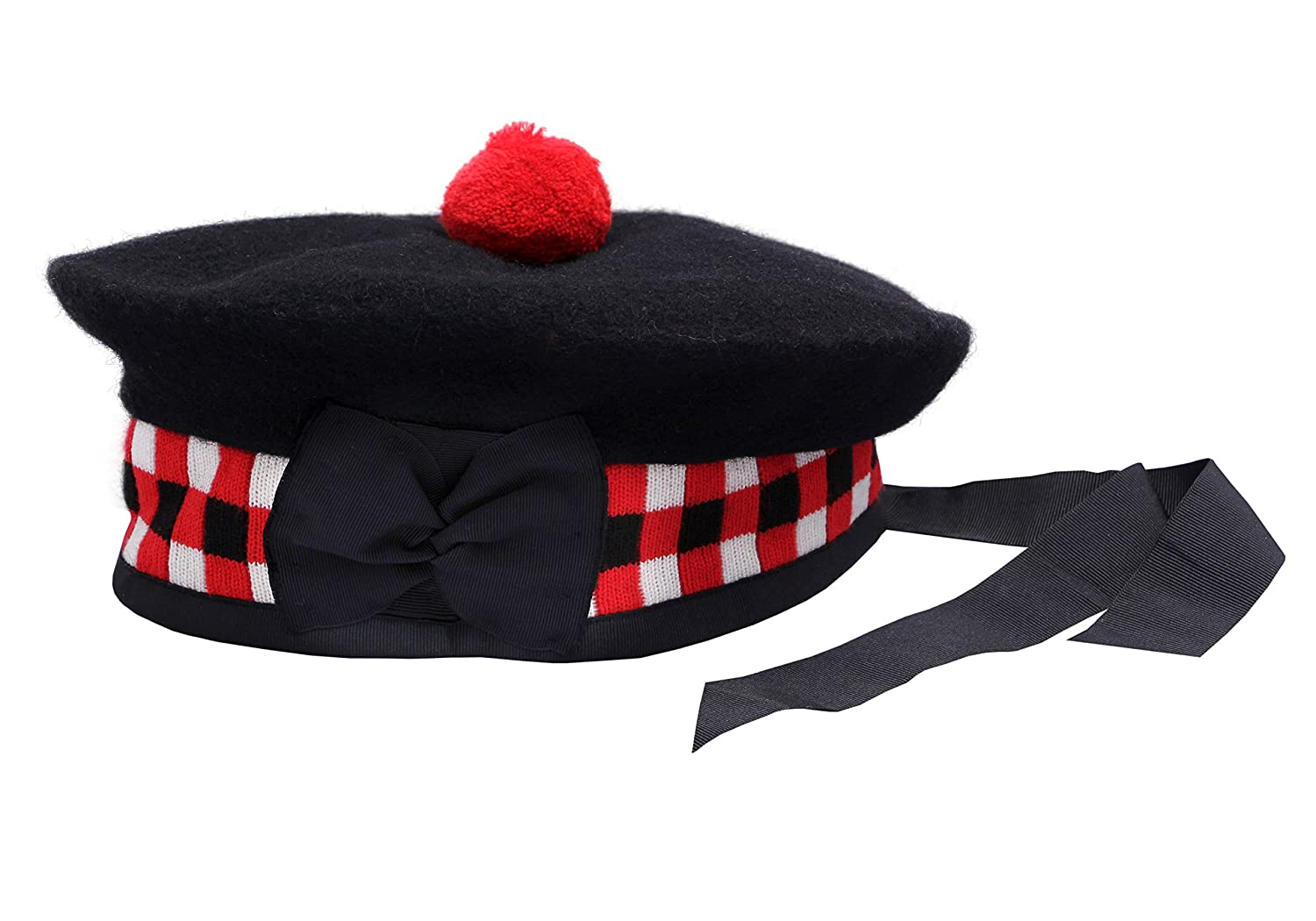 100% Pure Wool Scottish Balmoral Diced Hat Red, White & Black Balmoral Hat NORMAN INTERNATIONAL