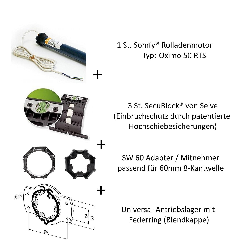 Somfy Oximo 50 RTS, motore per tapparelle con controllo con onde radio, inclusa protezione anti effrazione attraverso 3 dispositivi anti sollevamento, cuscinetti motore, cavo di collegamento e adattatore SW 60 per rullo trascinatore, 230.00V Somfy®