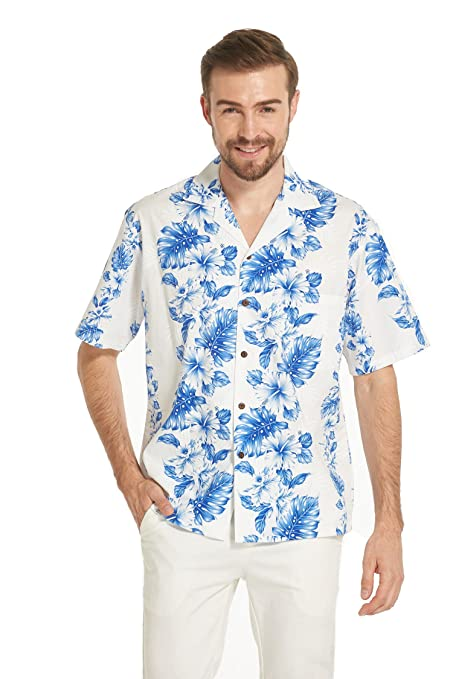 7679fe0430 Made in Hawaii Premium Couple Matching Shirt Muumuu Dress Line Floral in 2  Colors at Amazon Men's Clothing store: