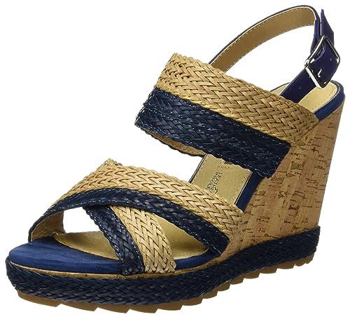 Mariamare Ganza, Sandalias con Plataforma para Mujer, Azul (Braided Marino/Beige/Brush Marino), 39 EU