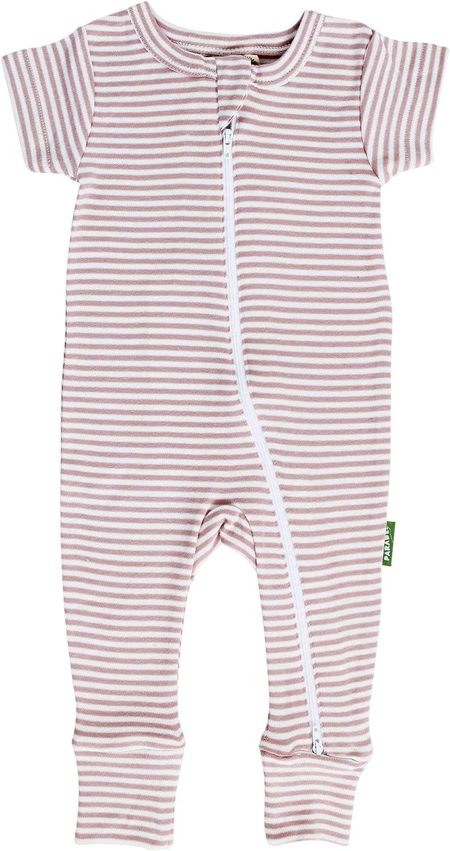 PARADE Signature Print 2-Way Zip Romper Short Sleeve Stripes Misty Rose 12-18 Months