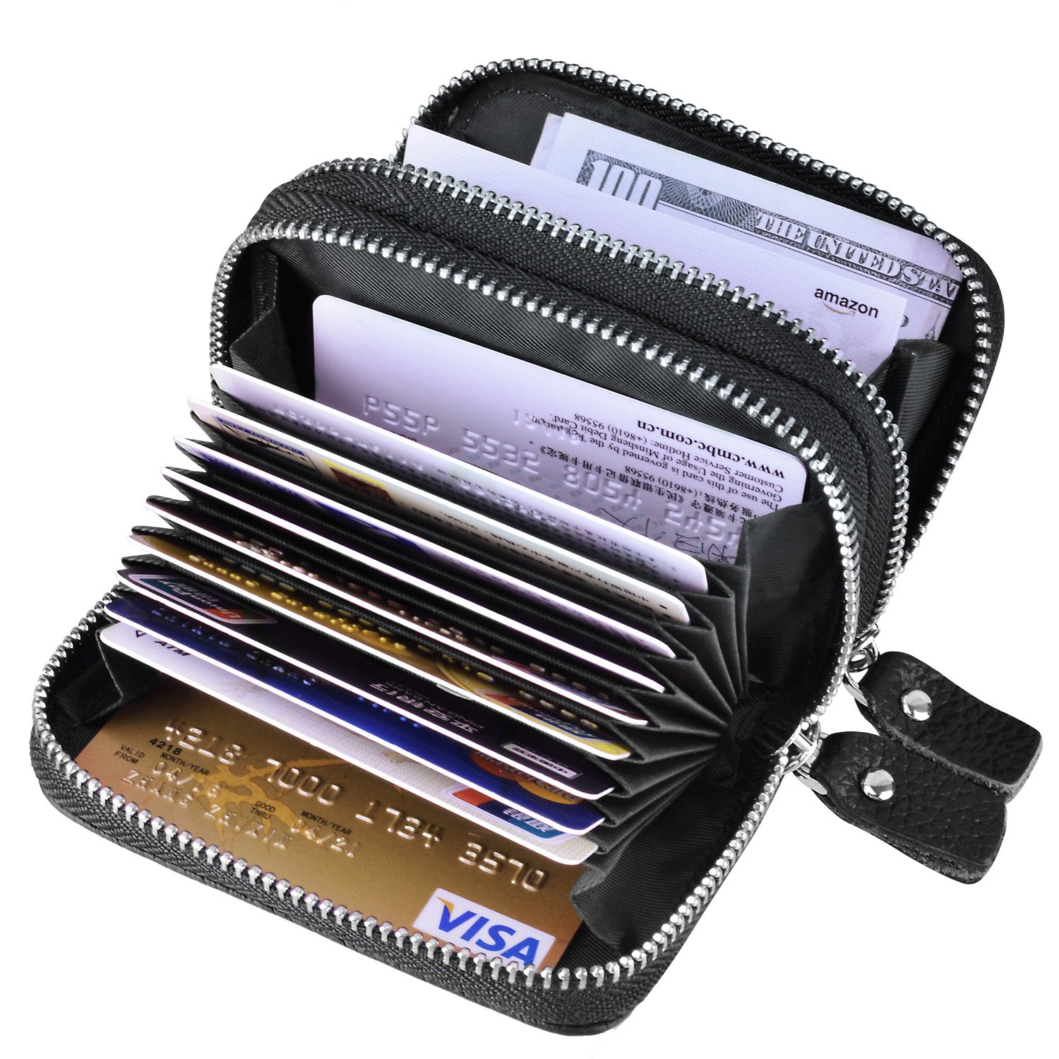 MaxGear RFID Blocking Credit Card Holder Genuine Leather Credit Card Wallets Credit Card Case Coin Credit Card Purse for Women or Men Credit Cards Organizer, Black