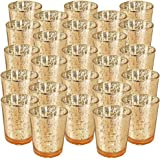 "Just Artifacts Mercury Glass Votive Candle Holder 2.75""H (25pcs, Speckled Gold) -Mercury Glass Votive Tealight Candle…"
