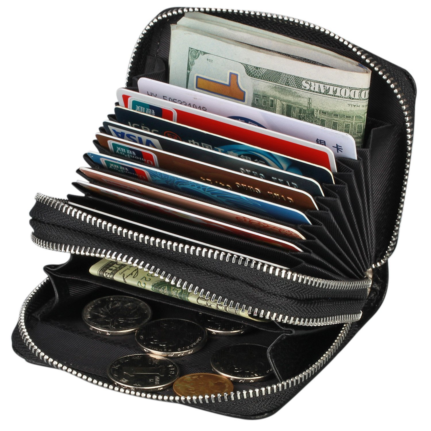 TraderPlus Women's RFID Blocking Leather Zipper Card Wallet Small Purse Credit Card Case Holder for Christmas Gift (Black)