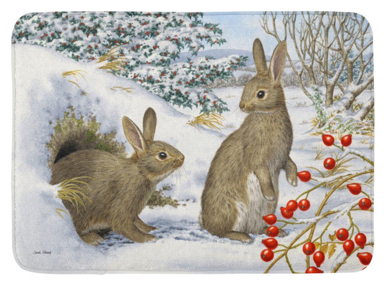 Carolines Treasures Winter Rabbits Floor Mat 19 x 27 Multicolor