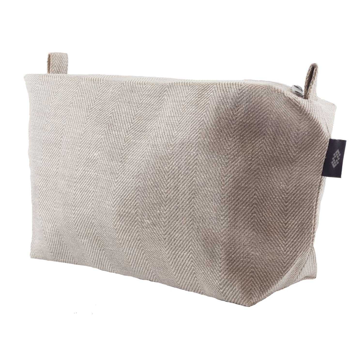 Large Canvas Toiletry Bag White - 100% Linen Travel Sack, ThingStore
