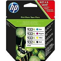 HP C2P42AE 932XL/933XL High Yield Original Ink Cartridges Black, Cyan, Magenta and Yellow, Pack of 4