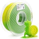 AMOLEN Stampante 3D Filamento PLA 1.75mm, Temperatura Cambiamento di Colore, Verde a Giallo, 1KG,+/- 0.03mm, include UV Cambiamento di Colore a Rosa Filamento Campione.