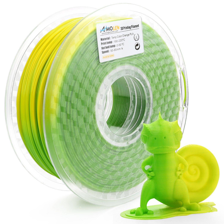 AMOLEN Stampante 3D Filamento PLA 1.75mm, Temperatura Cambiamento di Colore, Verde a Giallo, 200G,+/- 0.03mm, include UV Cambiamento di Colore Filamento Campione.