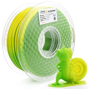 AMOLEN Filamento PLA Impresora 3D 1.75mm, Cambio de color de temperatura, Verde a Amarillo 1KG,+/- 0.03mm, incluye Cambio de color UV a Rosa Filamento ...