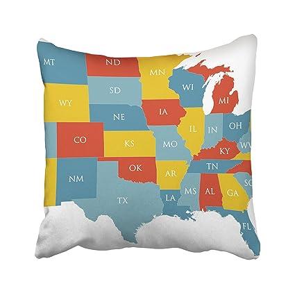 Amazon.com: Emvency Colorful USA United States Map Labeled ...