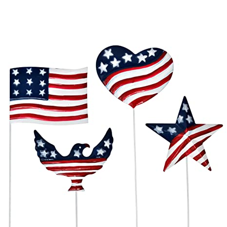 Patriotic Garden Yard Stakes Metal Outdoor Decor Set Of 4 Fourth Of July Eagle Heart Star American Flag Sign Red White Blue Stars Stripes Design