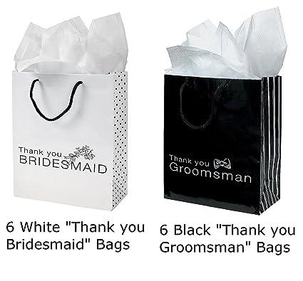 Amazoncom 12 Thank You Gift Bags Groomsmen Bridesmaid Black