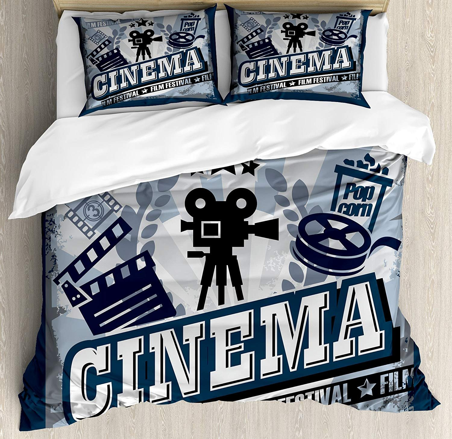 Movie Theater Twin Duvet Cover Sets 4 Piece Bedding Set Bedspread with 2 Pillow Sham, Flat Sheet for Adult/Kids/Teens, Vintage Cinema Poster Design with Grunge Effect and Old Fashioned Icons