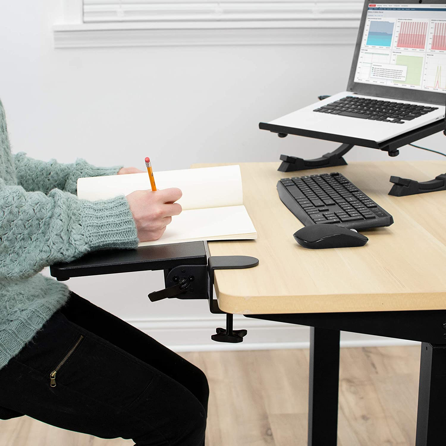 Black 26 x 9 inch Extension Platform for Typing and Mouse Work MOUNT-KB06H VIVO Clamp On Tilting Keyboard Tray Elbow and Arm Support Rest