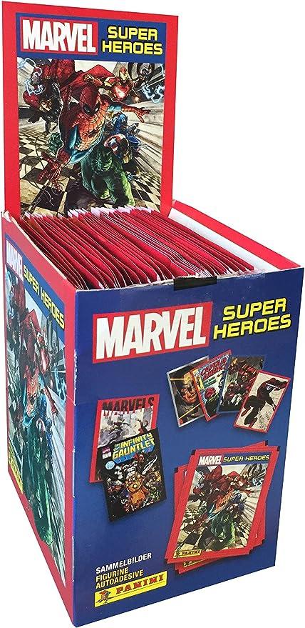 Panini- Caja con 50 cromos Marvel Súper Héroes (003311BOX50E): Amazon.es: Juguetes y juegos
