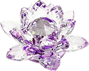 """KLOUD City 3.4"""" Outter Diametr Purple Crystal Lotus Flower with Gift Box for Feng Shui Home Decor Home Decoration"""