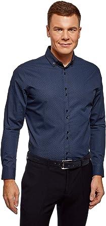 oodji Ultra Hombre Camisa Entallada con Cuello Doble, Azul, 44: Amazon.es: Ropa y accesorios