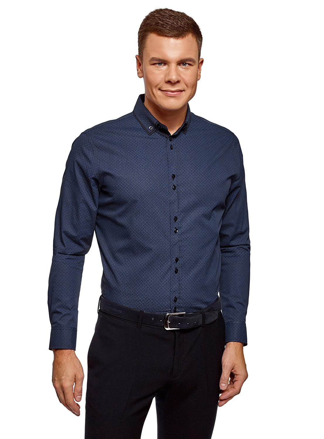 oodji Ultra Men's Slim-Fit Shirt with Contrast Details
