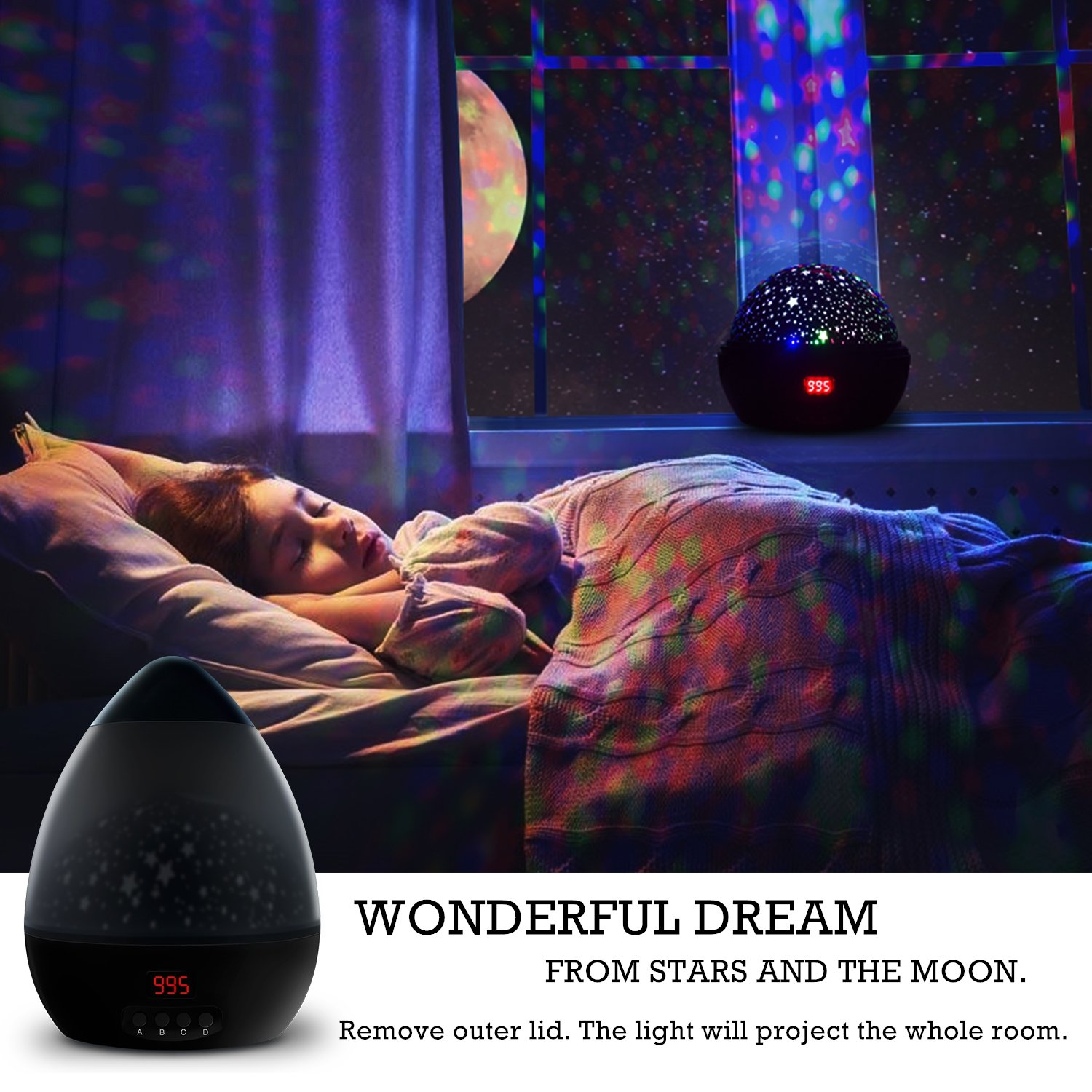 Newest night lightmultiple colors star light rotating projector with timer auto shut for kids and
