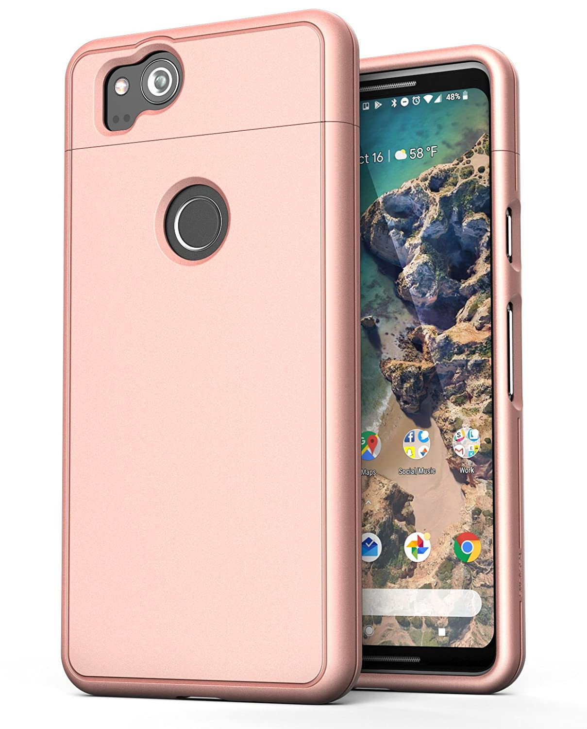 reputable site 3f95b 2be75 Google Pixel 2 XL Case Rose Gold - Encased (SlimShield Edition) Full  Coverage Protective Grip Cases for Google Pixel2 XL (2017)