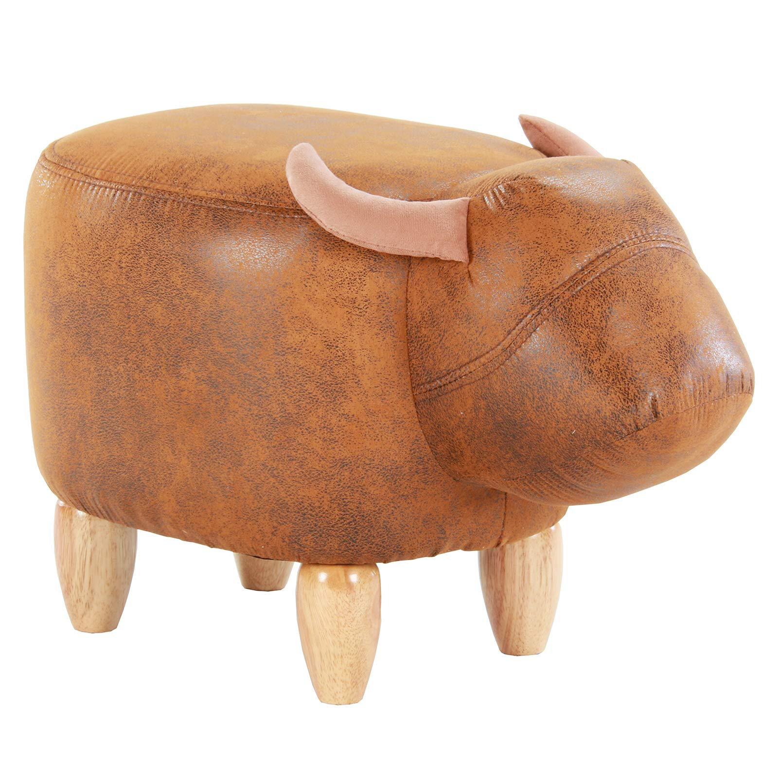 Artechworks Upholstered Ride-On Animal Ottoman Footrest Stool with Vivid Adorable Animal-Like Features,Perfect for Gift, Changing Shoes, Decoration, Toys, Without Storage(Brown Buffalo), Brown