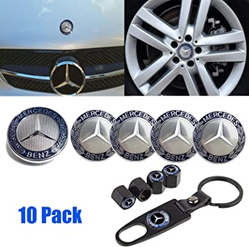 MERCEDES BENZ LIMITED EDITION DUST CAPS MERCEDES BENZ CHROME KEYRING BLUE LAUREL 4 PCS SET