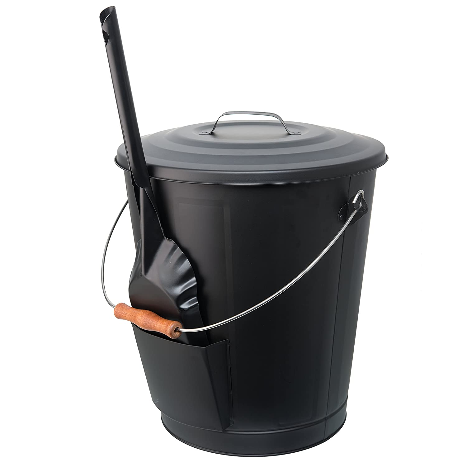 California Home Goods Ash Bucket for Fireplace with Shovel Tool, Large Capacity 6 Gallon Can with Lid and Wood Handle, Black 6639912